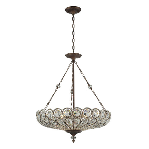 ELK Lighting 12025/6 Christina 6-Light Convertible Dual Mount in Mocha with Crystal