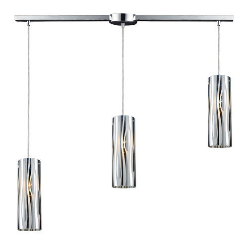 ELK Lighting 31078/3L Chromia 3-Light Linear Pendant Fixture in Polished Chrome with Cylinder Shade
