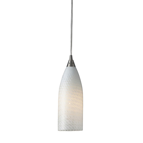 ELK Lighting 522-1WS Cilindro 5-Light Mini Pendant in Satin Nickel with White Swirl Glass