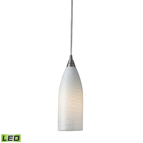 ELK Lighting 522-1WS-LED Cilindro 1--Light Mini Pendant in Satin Nickel with White Swirl Glass - Includes LED Bulb