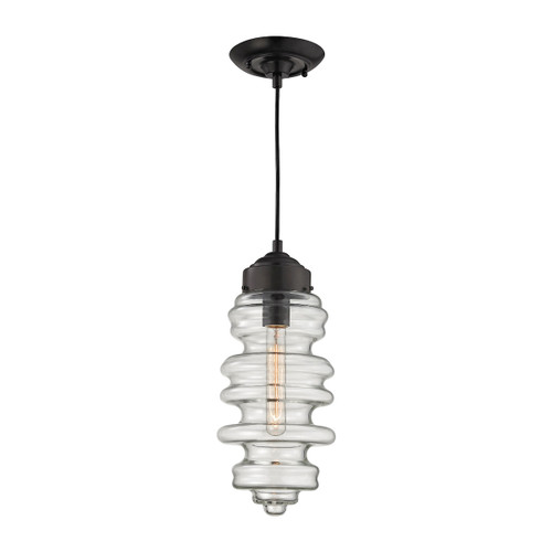 ELK Lighting 17205/1 Cipher 1-Light Mini Pendant in Oil Rubbed Bronze with Clear Glass