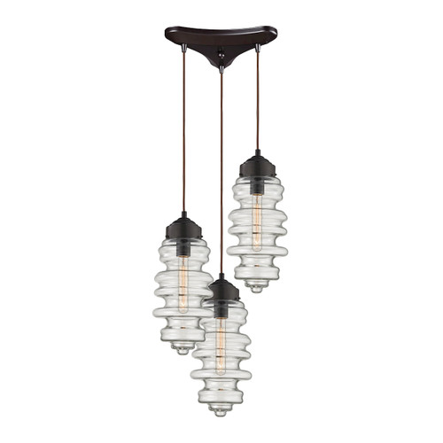 ELK Lighting 17205/3 Cipher 3-Light Triangular Pendant Fixture in Oil Rubbed Bronze with Clear Glass