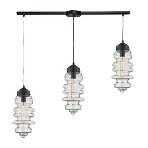 ELK Lighting 17205/3L Cipher 3-Light Linear Pendant Fixture in Oil Rubbed Bronze with Clear Glass