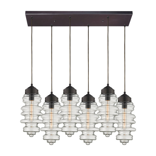 ELK Lighting 17205/6RC Cipher 6-Light Rectangular Pendant Fixture in Oil Rubbed Bronze with Clear Glass