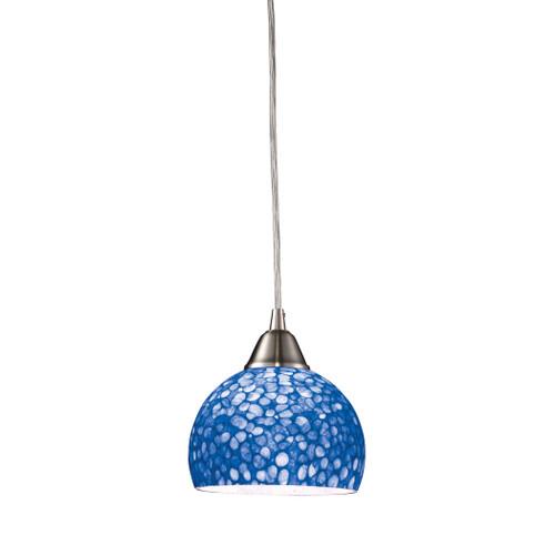 ELK Lighting 10143/1PB Cira 1-Light Mini Pendant in Satin Nickel with Pebbled Blue Glass