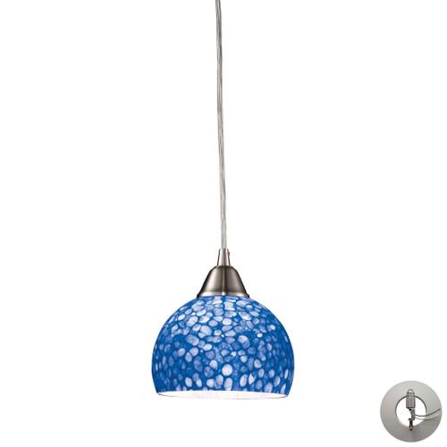 ELK Lighting 10143/1PB-LA Cira 1-Light Mini Pendant in Satin Nickel with Pebbled Blue Glass - Includes Adapter Kit
