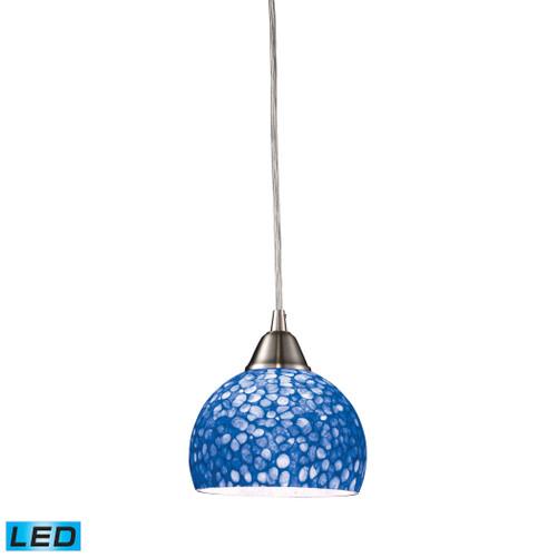 ELK Lighting 10143/1PB-LED Cira 1-Light Mini Pendant in Satin Nickel with Pebbled Blue Glass - Includes LED Bulb