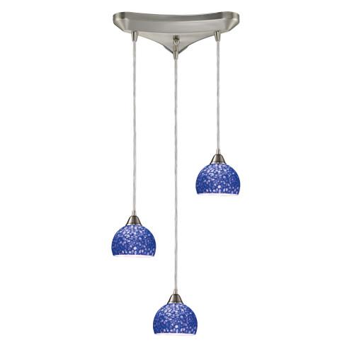 ELK Lighting 10143/3PB Cira 3-Light Triangular Pendant Fixture in Satin Nickel with Pebbled Blue Glass