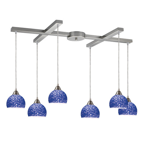 ELK Lighting 10143/6PB Cira 6-Light H-Bar Pendant Fixture in Satin Nickel with Pebbled Blue Glass