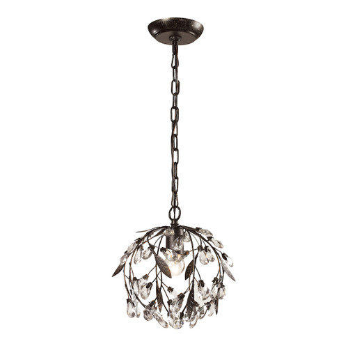 ELK Lighting 18133/1 Circeo 1-Light Mini Pendant in Deep Rust with Crystal and Off-white Shade