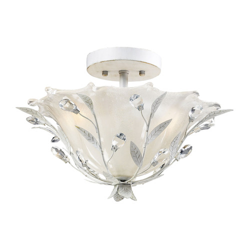 ELK Lighting 18111/2 Circeo 2-Light Semi Flush in Antique White with Crystal and White Shade