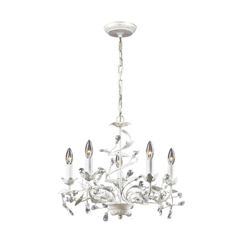ELK Lighting 18113/5 Circeo 5-Light Chandelier in Antique White with Crystal
