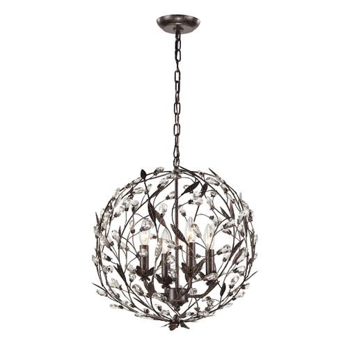 ELK Lighting 18134/4 Circeo 4-Light Chandelier in Deep Rust with Crystal