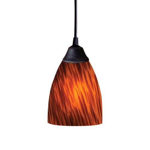 ELK Lighting 406-1ES Classico 1-Light Mini Pendant in Dark Rust with Espresso Glass