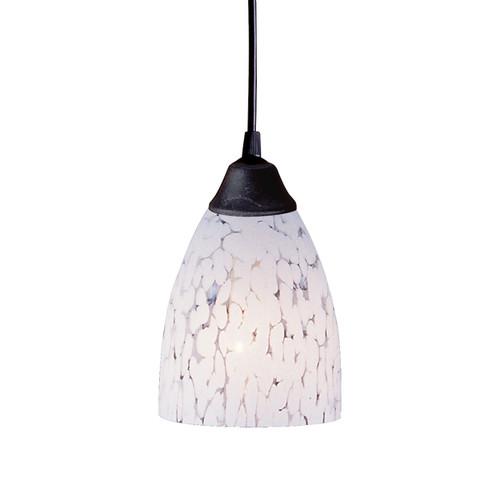 ELK Lighting 406-1SW Classico 1-Light Mini Pendant in Dark Rust with Snow White Glass