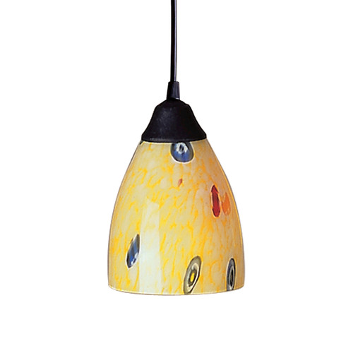 ELK Lighting 406-1YW Classico 1-Light Mini Pendant in Dark Rust with Yellow Blaze Glass