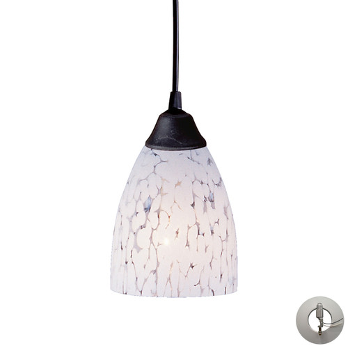 ELK Lighting 406-1SW-LA Classico 1-Light Mini Pendant in Dark Rust with Snow White Glass - Includes Adapter Kit