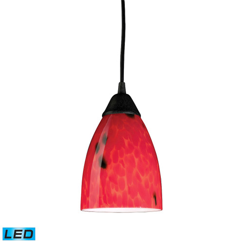 ELK Lighting 406-1FR-LED Classico 1-Light Mini Pendant in Dark Rust with Fire Red Glass - Includes LED Bulb