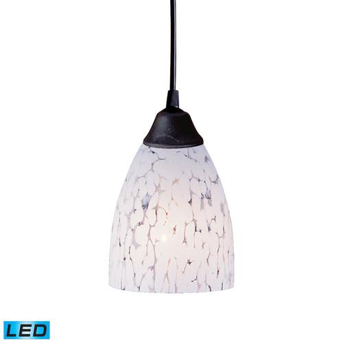 ELK Lighting 406-1SW-LED Classico 1-Light Mini Pendant in Dark Rust with Snow White Glass - Includes LED Bulb