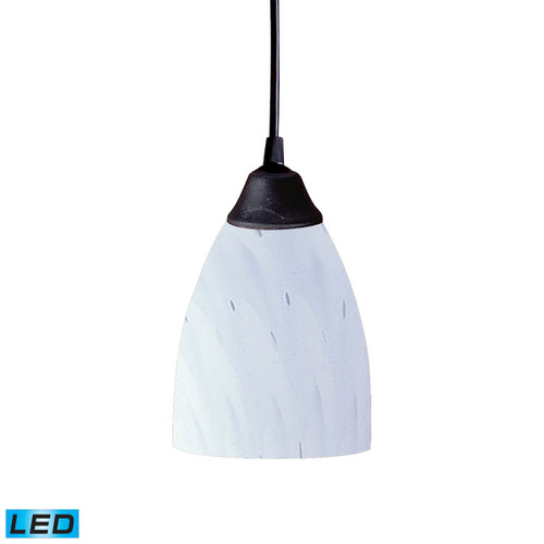 ELK Lighting 406-1WH-LED Classico 1-Light Mini Pendant in Dark Rust with Simple White Glass - Includes LED Bulb
