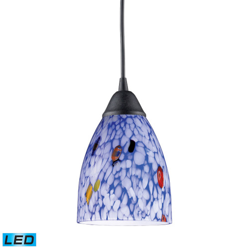 ELK Lighting 406-1BL-LED Classico 1-Light Mini Pendant in Dark Rust with Starburst Blue Glass - Includes LED Bulb