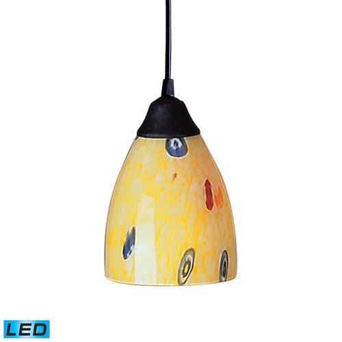 ELK Lighting 406-1YW-LED Classico 1-Light Mini Pendant in Dark Rust with Yellow Blaze Glass - Includes LED Bulb