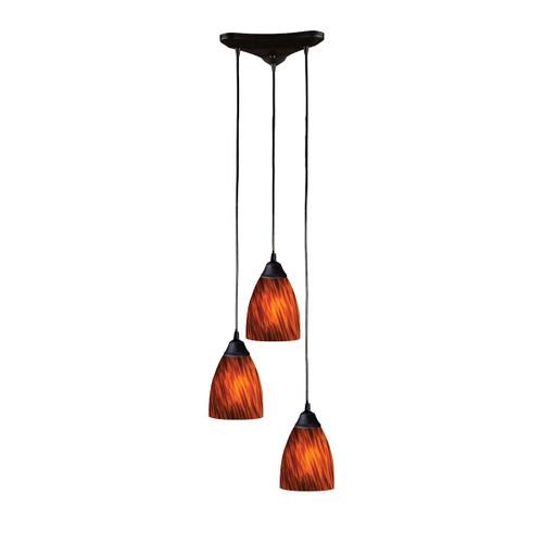 ELK Lighting 406-3ES Classico 3-Light Triangular Pendant Fixture in Dark Rust with Espresso Glass