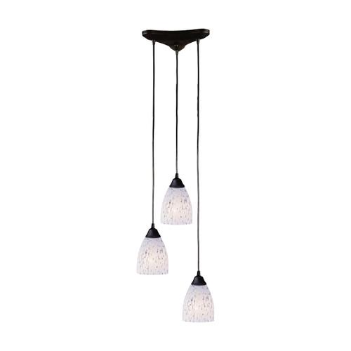 ELK Lighting 406-3SW Classico 3-Light Triangular Pendant Fixture in Dark Rust with Snow White Glass