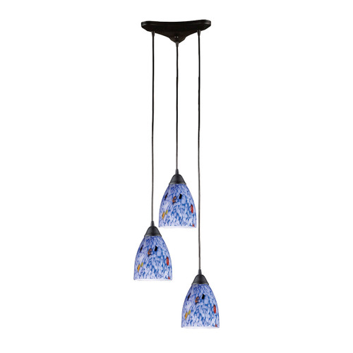 ELK Lighting 406-3BL Classico 3-Light Triangular Pendant Fixture in Dark Rust with Starburst Blue Glass