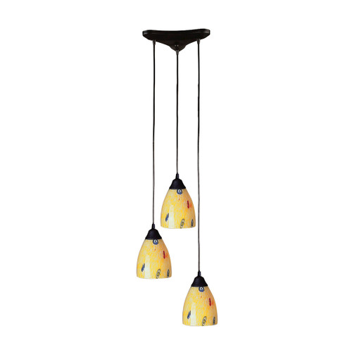 ELK Lighting 406-3YW Classico 3-Light Triangular Pendant Fixture in Dark Rust with Yellow Blaze Glass