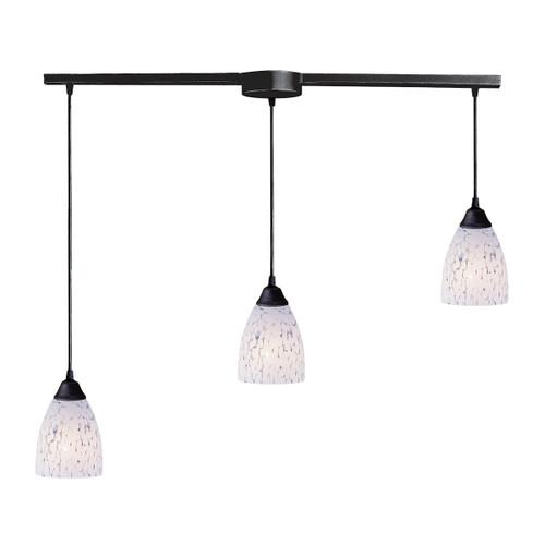 ELK Lighting 406-3L-SW Classico 3-Light Linear Pendant Fixture in Dark Rust with Snow White Glass