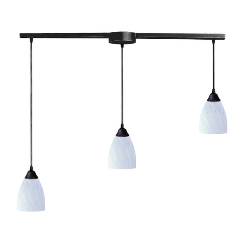 ELK Lighting 406-3L-WH Classico 3-Light Linear Pendant Fixture in Dark Rust with Simple White Glass