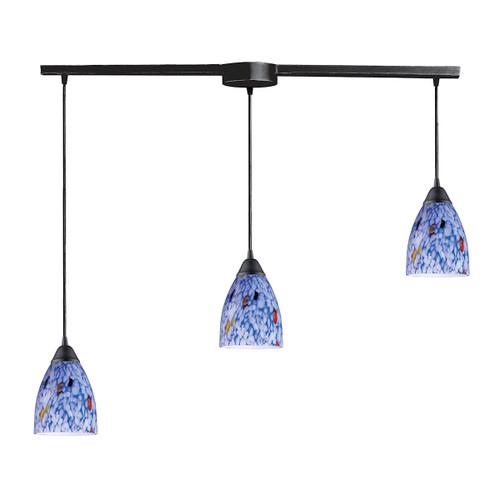 ELK Lighting 406-3L-BL Classico 3-Light Linear Pendant Fixture in Dark Rust with Starburst Blue Glass