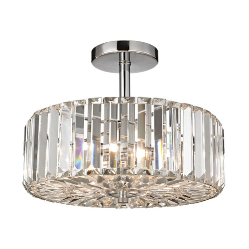 ELK Lighting 46185/3 Clearview 3-Light Semi Flush in Polished Chrome with Crystal Prisms