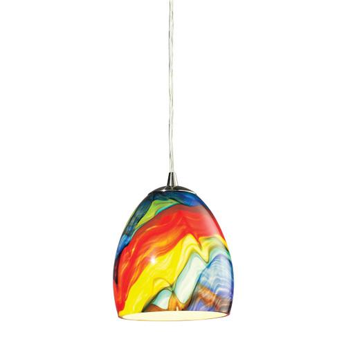 ELK Lighting 31445/1RB Colorwave 1-Light Mini Pendant in Satin Nickel with Multi-colored Glass