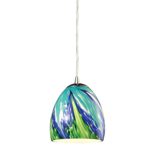 ELK Lighting 31445/1TB Colorwave 1-Light Mini Pendant in Satin Nickel with Blue and Green Glass