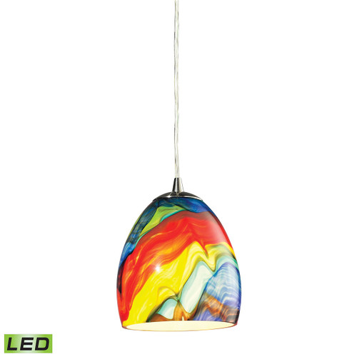 ELK Lighting 31445/1RB-LED Colorwave 1-Light Mini Pendant in Satin Nickel with Multi-colored Glass - Includes LED Bulb