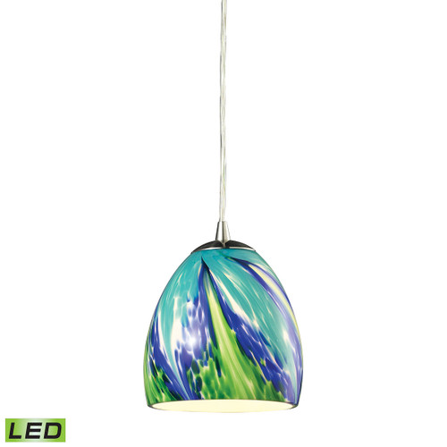 ELK Lighting 31445/1TB-LED Colorwave 1-Light Mini Pendant in Satin Nickel with Blue and Green Glass - Includes LED Bulb