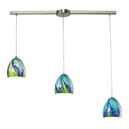 ELK Lighting 31445/3L-TB Colorwave 3-Light Linear Pendant Fixture in Satin Nickel with Blue and Green Glass