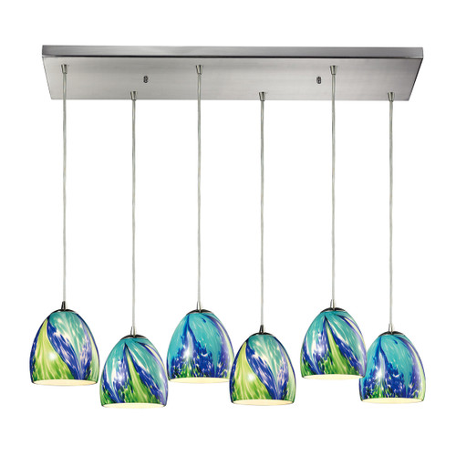 ELK Lighting 31445/6RC-TB Colorwave 6-Light Rectangular Pendant Fixture in Satin Nickel with Blue and Green Glass