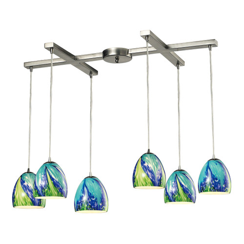 ELK Lighting 31445/6TB Colorwave 6-Light H-Bar Pendant Fixture in Satin Nickel with Blue and Green Glass