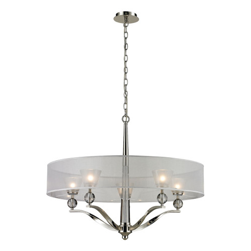 ELK Lighting 31292/5 Corisande 5-Light Chandelier in Polished Nickel with Silver Organza Drum Shades and Frosted Glass
