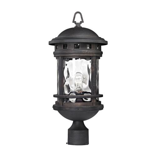 ELK Lighting 45114/1 Costa Mesa 1-Light Outdoor Post Lantern in Weathered Charcoal