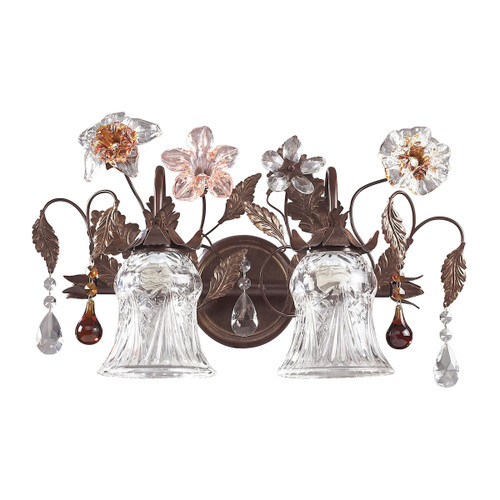 ELK Lighting 7040/2 Cristallo Fiore 2-Light Vanity Lamp in Deep Rust with Clear and Amber Florets