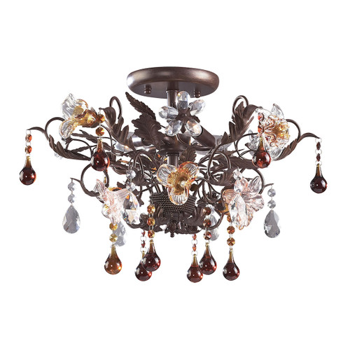 ELK Lighting 7044/3 Cristallo Fiore 3-Light Semi Flush in Deep Rust with Clear and Amber Florets