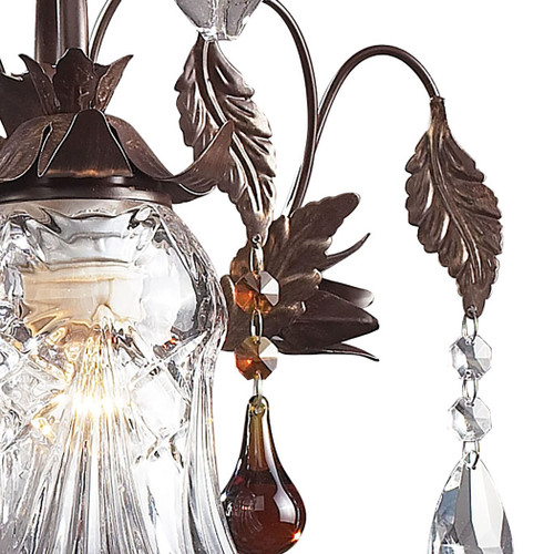 ELK Lighting 7042/3 Cristallo Fiore 3-Light Vanity Lamp in Deep Rust with Clear and Amber Florets