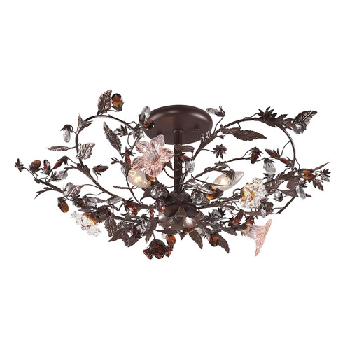 ELK Lighting 7046/3 Cristallo Fiore 3-Light Semi Flush in Deep Rust with Clear and Amber Florets