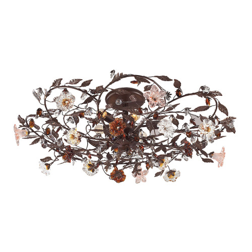 ELK Lighting 7047/6 Cristallo Fiore 6-Light Flush Mount in Deep Rust with Clear and Amber Florets