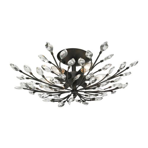 ELK Lighting 11772/6 Crystal Branches 6-Light Semi Flush in Burnt Bronze