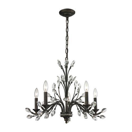 ELK Lighting 11775/5 Crystal Branches 5-Light Chandelier in Burnt Bronze